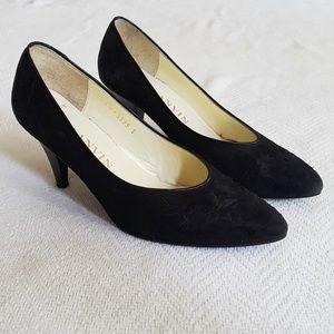 Lanvin Paris Vintage black embroidered suede pumps